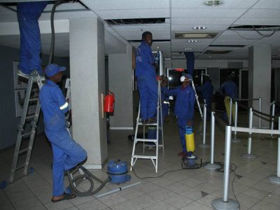 Cleaning office park suspended ceiling