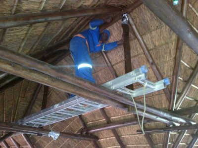 We vacuum thatch roofs.