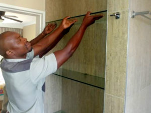 custom glass shelf installation